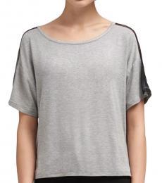 DKNY Light Grey Mesh-Shoulder Top