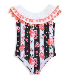 Betsey Johnson Little Girls Black & White Pom-Pom One-Piece Swimsuit