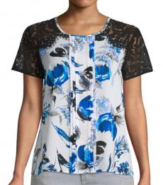 Karl Lagerfeld Provence Blue Lace-Sleeve Printed Blouse