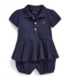 Ralph Lauren Baby Girls Navy Peplum Bubble Shortall