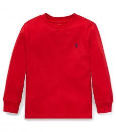 Little Boys Red Long Sleeve T-Shirt