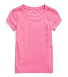 Ralph Lauren Little Girls Baja Pink Cotton-Modal T-Shirt