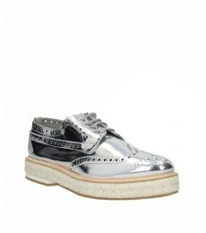 Silver Wingtip Leather Lace Ups