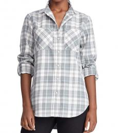 Petite Grey Cotton Twill Shirt