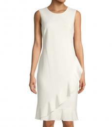 Calvin Klein Cream Ruffled Knee-Length Sheath Dress