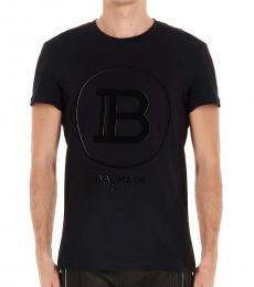 Balmain Black Cotton Logo T-Shirt