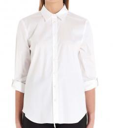 White Monile Lapels Poplin Shirt