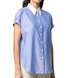 Light Blue Poplin Contrast Pinstriped Shirt