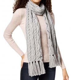 Grey Pointelle Cable-Knit Scarf