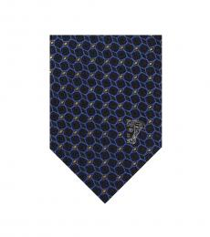 Versace Black Blue Geometric Tie