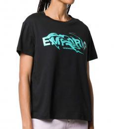 Emporio Armani Black Swirling Logo T-Shirt