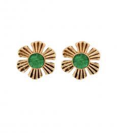 Green-Gold Flower Stud Earrings