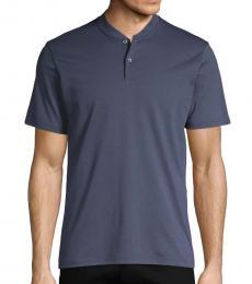 Dark Blue Short-Sleeve Cotton Polo