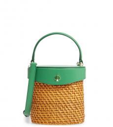 Kate Spade Green Bean Rose Mini Bucket Bag