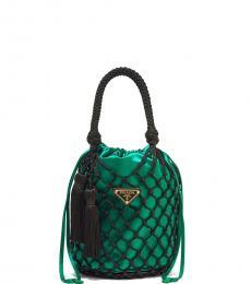 Prada Green Mesh Net Mini Bucket Bag