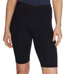 Betsey Johnson Black-Overlap-Waist Bike Shorts