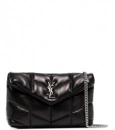 Saint Laurent Black Loulou Puffy Small Shoulder Bag