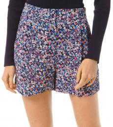 Michael Kors Coral Peach Floral Crepe Shorts