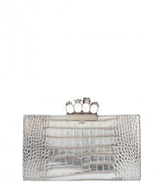 Alexander McQueen Silver Textured Skull Four Ring Clutch