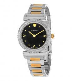 Versace Silver-Gold V- Motif Black Dial Watch