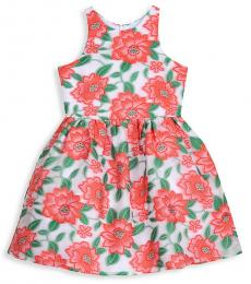 Badgley Mischka Girls Red Floral-Print Dress