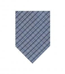 Calvin Klein Blue Shing Check Plaid Tie