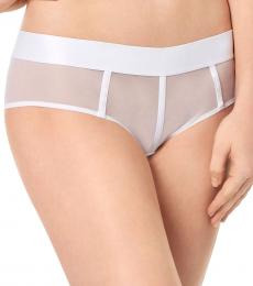 DKNY White Sheers Mesh-Panel Hipster Underwear