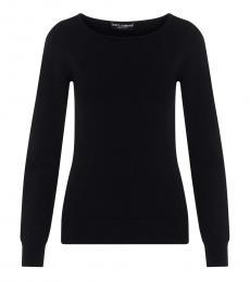 Black Crew Neck Solid Sweater