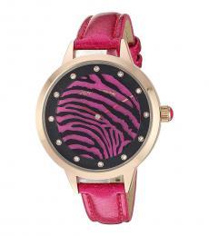 Betsey Johnson Fuchsia Rotating Tiger Striped Dial Watch