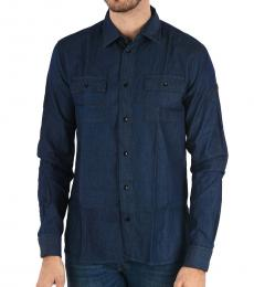 Armani Jeans Dark Blue Spread Collar Denim Shirt