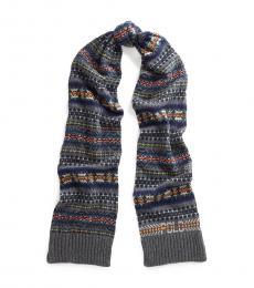 Ralph Lauren Grey Multi Fairisle Intarsia-Knit Scarf