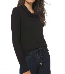 Michael Kors Black Cowlneck Waffle-Knit Top