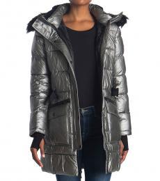 Michael Kors Gun Metal Belted Faux Fur Jacket