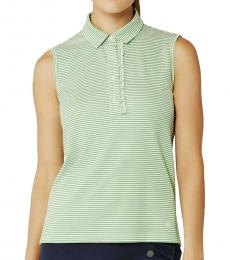 Tory Burch Green Performance Striped Ruffle Polo Tee