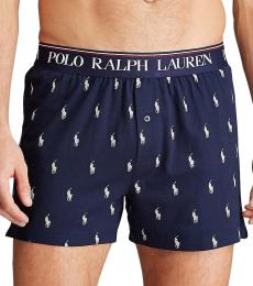 Ralph Lauren Navy Blue Logo Knit Boxer Briefs