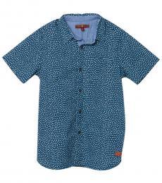 7 For All Mankind Boy Blue  Dot Print Shirt