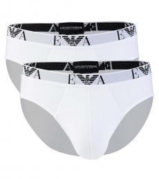 Emporio Armani White 2-Pack Solid Briefs