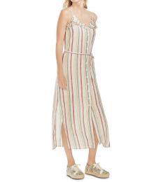 Beige Linen Striped Ruffled Maxi Dress