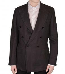 Dolce & Gabbana Grey Linen Double Breasted Blazer