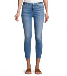 7 For All Mankind Blue Step Hem Skinny Jeans