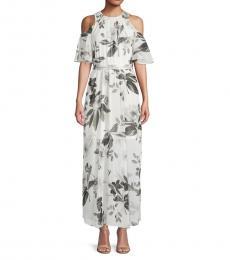 Cream Floral-Print Maxi Dress