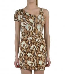 Leopard Print One Shoulder Bodycon Dress