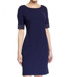 Karl Lagerfeld Dark Blue Scuba Crepe Sheath Dress