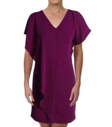 Ralph Lauren Purple Ruffled V-Neck Party Dress