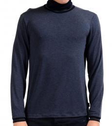 Armani Collezioni Blue Turtleneck Stretch Sweater