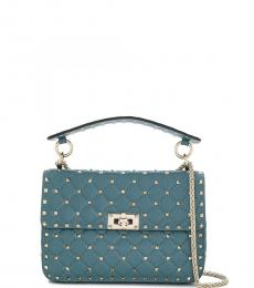 Valentino Garavani Blue Rockstud Spike Medium Shoulder Bag
