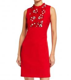 Karl Lagerfeld Red Lace Yoke Crepe Dress