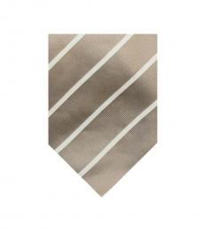 Burberry Khaki Dapper Stripes Silk Tie