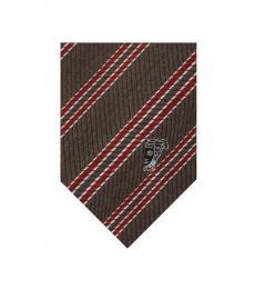 Versace Brown-Red Stripe Tie