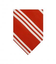 Ralph Lauren Orange Dapper Stripes Silk Tie